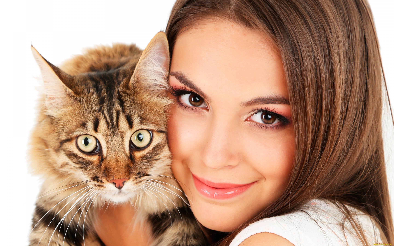 Картинки про кота и девушку